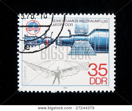 Germany - CIRCA 1979:  A stamp printed in Germany shows spaceship and Otto Lilienthal, circa 1979 Series