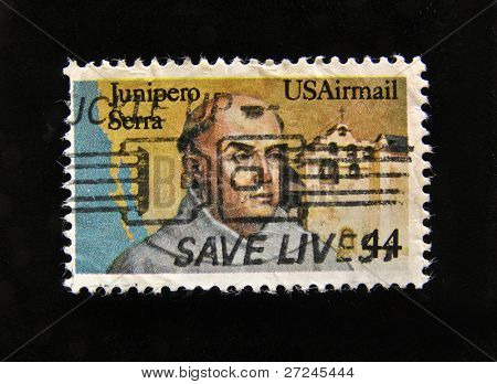 USA - CIRCA 1986: A stamp printed in USA shows Junipero Serra, circa 1992.