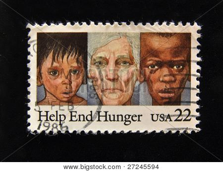 "USA - CIRCA 1986: A Stamp printed in the USA shows starving and the inscription ""Help End Hunger"", circa 1986."