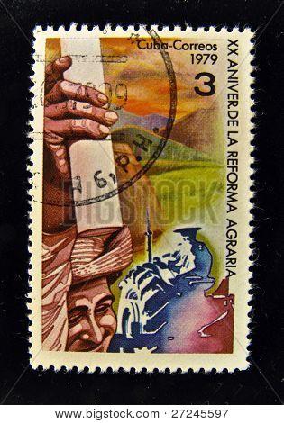 CUBA - CIRCA 1986: A Stamp printed in the CUBA shows agrarian revolution, circa 1986.