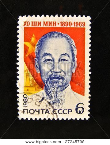 """USSR - CIRCA 1980: A Stamp printed in the USSR shows portrait of the President of Vietnam Ho Chi Minh, circa 1980. """"The great people of Russia and the World"""" series, 100 stamps."""