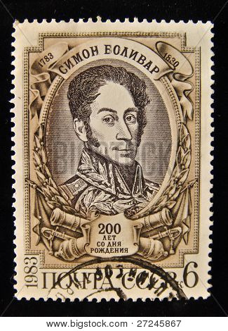 "USSR - CIRCA 1983: A Stamp printed in the USSR shows portrait of the commander, Simon Bolivar, circa 1983. ""The great people of Russia and the World"" series, 100 stamps."