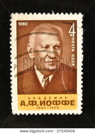 "USSR - CIRCA 1970s: A Stamp printed in the USSR shows portrait of the Academician Abram Ioffe circa 1970s. ""The great people of Russia and the World"" series, 100 stamps."
