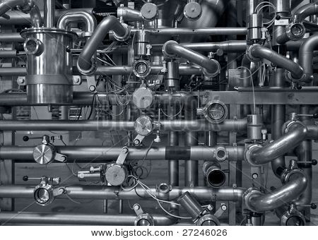 Modern brewery. Pipes for giving of malt and water
