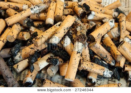 Cigarette butts as background