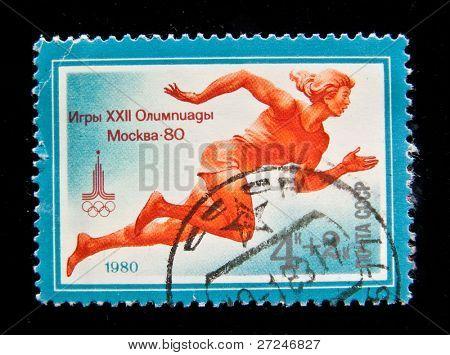 UdSSR ca. 1980: ein Stempel in der UdSSR zeigt Frau Sprinter, Serie gedruckt gewidmet Olimpische Spiele in