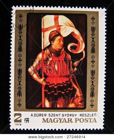 HUNGARY - CIRCA 1978: A stamp printed in Hungary shows Paintings by Albrecht Durer, circa 1978 Series, 8 stamps