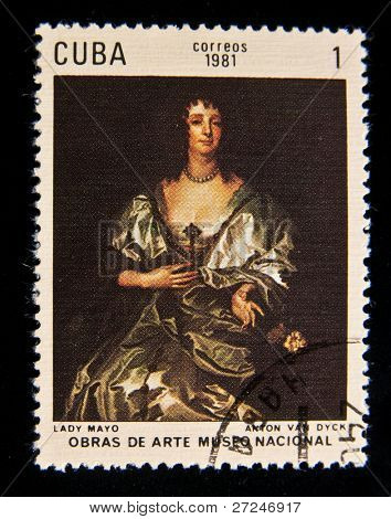 CUBA - CIRCA 1981: A stamp printed in Cuba shows a picture by Anton van Dyck