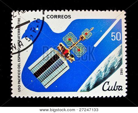 CUBA - CIRCA 1982: A stamp printed in the Cuba shows interstellar spaceship, circa 1982. Big space series
