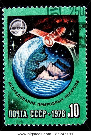 USSR - CIRCA 1978: A stamp printed in the USSR devoted to the Intercosmos program shows a spaceship, circa 1978. Big space series