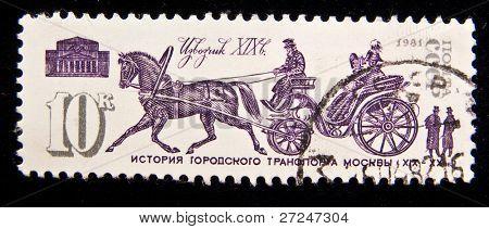 URSS - CIRCA 1981: Un sello impreso en URSS muestra el controlador del siglo XIX, alrededor del año 1981.
