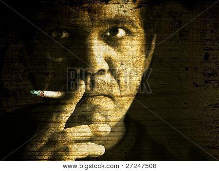 Grange portrait of a smoker