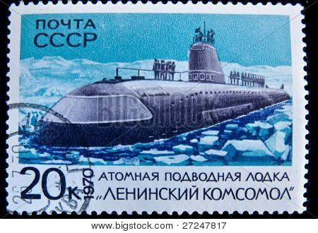 USSR- CIRCA 1970: A stamp printed in the USSR shows nuclear submarine