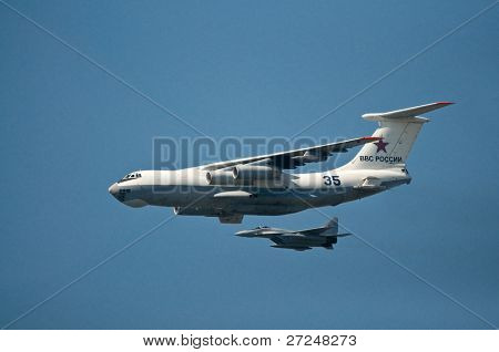 MOSCOW- MAY 9: Russian Military transport aircraft An-124-100 during aviation parade dedicated to the 65th anniversary of victory in the Great Patriotic War May 9, 2010, Moscow, Russia