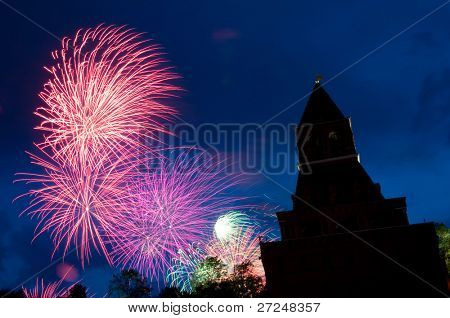 Fireworks over the tower of Moscow Kremlin (Russia, Moscow, May 9, 2010)