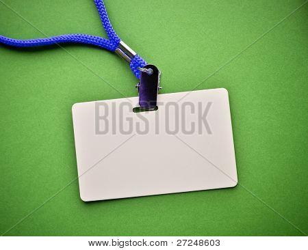 Blank badge on green