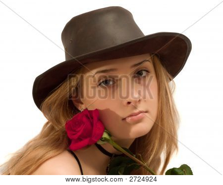 Beauty Girl With Red Rose On White. Isolated