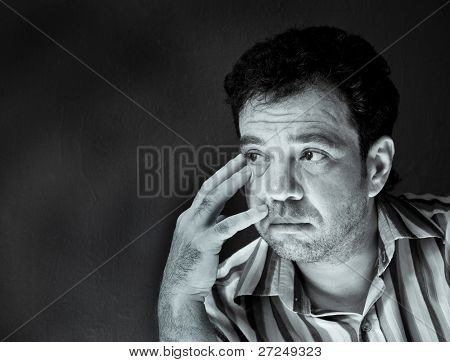 Thoughtful man. Black and white portraits series