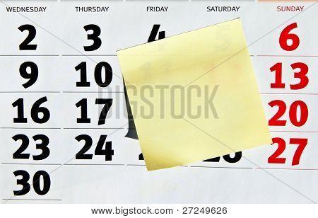 Calendar and sticker note. Series