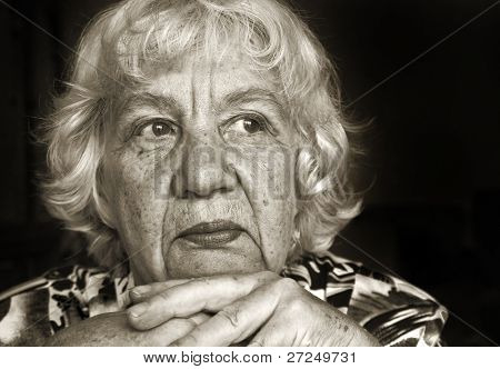 Portrait of a sad lady. Black and white portraits series
