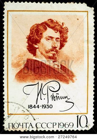 USSR - CIRCA 1969 : stamp printed in Russia, shows drawing portrait of artist Ilya Repin, USSR, circa 1969