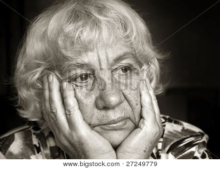 Portrait of a sad lady. Black and white portraits series