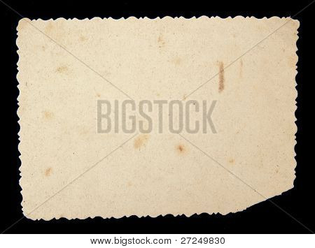Reverse side of an old photo print with a decorative border. Series