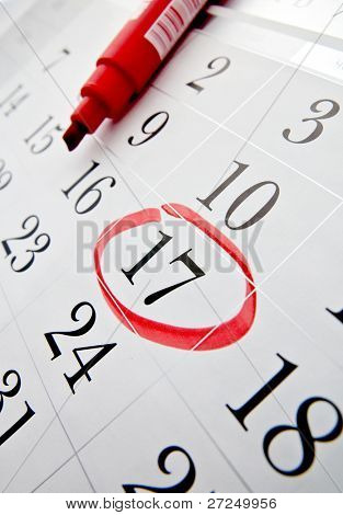 Calendar and a red marker