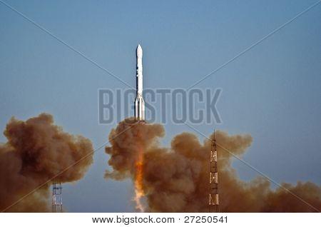 BAIKONUR COSMODROME, KAZAKHSTAN - NOV 05: Russian  rocket