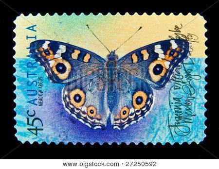 AUSTRALIA - CIRCA 1998 : cancelled Australian postage stamp depicting butterfly meadow argus, circa 1998