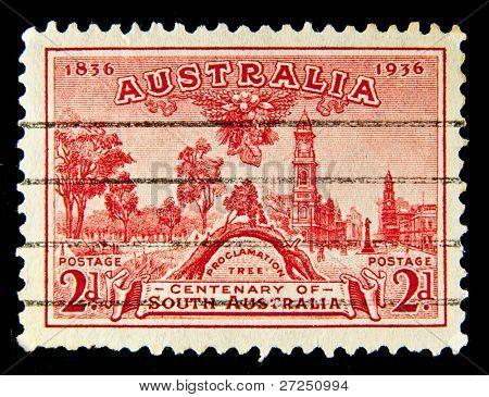 AUSTRALIA - CIRCA 1936: A stamp printed in Australia shows Proclamation Tree, circa 1936