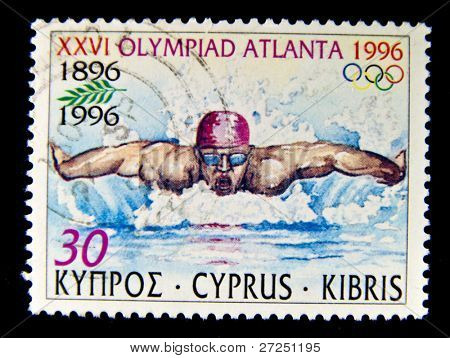 CYPRUS - CIRCA 1996: A stamp printed in Cyprus showing swimmer (sixteenth Olympics in Atlanta), circa 1996