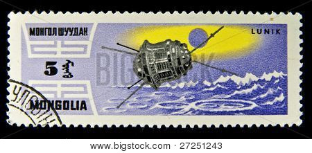 "MONGOLIA- CIRCA 1975: A stamp printed in Mongolia shows the sputnik ""Lunik"" , circa 1975"