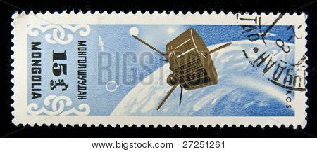 "MONGOLIA- CIRCA 1975: A stamp printed in Mongolia shows the sputnik ""Tiros"" , circa 1975"