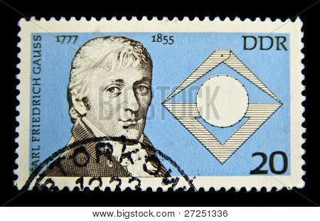 GERMANY- CIRCA 1977: stamp printed by Germany, shows Carl Friedrich Gauss - mathematician, circa 1977.