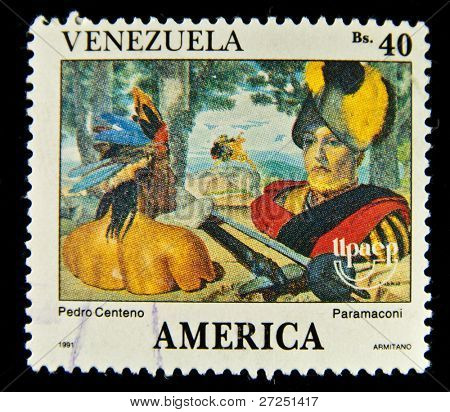 VENEZUELA - CIRCA 1991: A stamp printed in Venezuela showing American Indian and Spanish conquistador, circa 1991