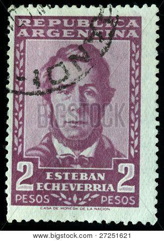 ARGENTINA-CIRCA 1950-th: A stamp shows image portrait Esteban Echeverria, circa 1950-th.