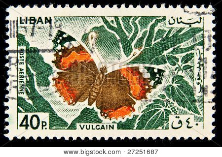 LEBANON - CIRCA 1997: A Butterfly is an insect of the order Lepidoptera, circa 1997.