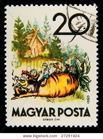 HUNGARY - CIRCA 1960: A stamp printed in Hungary shows an illustration of the Russian folk fairy tale