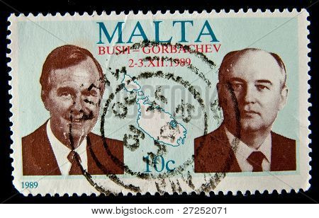 MALTA - CIRCA 1989: A stamp printed in Malta shows Mikhail Sergeyevich Gorbachev - General Secretary of the Communist Party of  Soviet Union and U.S. President George W. Bush, Malta, circa 1989