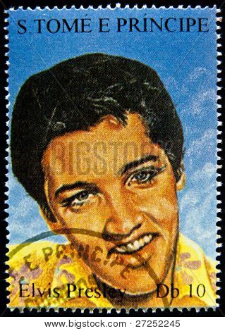 S.TOME E PRINCIPE - CIRCA 2005: stamp printed in S.Tome E Principe showing Elvis Presley - rock and roll singer, circa 2005. 9 stamps series