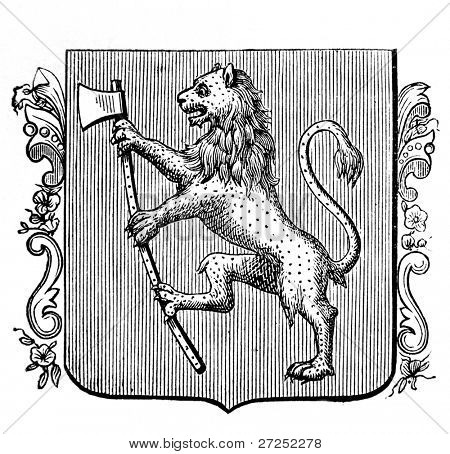 """Old illustration shows coat of arms of the Norwegian kingdom. Original, created by Alwin Zschiesche, published on """"Illustrierts Briefmarken Album"""", Leipzig, 1885"""