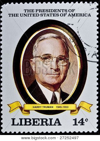 LIBERIA - CIRCA 2000s: A stamp printed in Liberia shows President Harry Truman, circa 2000s.