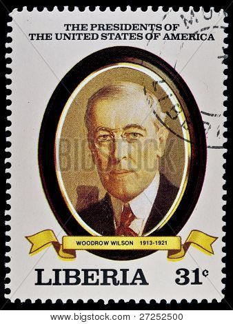 "LIBERIA - CIRCA 2000s: A stamp printed in Liberia shows President Woodrow Wilson, circa 2000s. ""All USA Presidents"" series."