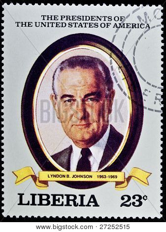 "LIBERIA - CIRCA 2000s: A stamp printed in Liberia shows President Lyndon B. Johnson, circa 2000s. ""All USA Presidents"" series."
