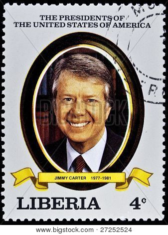 LIBERIA - CIRCA 2000s: A stamp printed in Liberia shows President Jimmy Carter, circa 2000s.