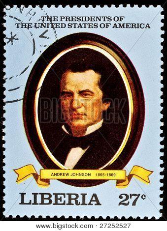 LIBERIA - CIRCA 2000s: A stamp printed in Liberia shows President Andrew Johnson, circa 2000s.