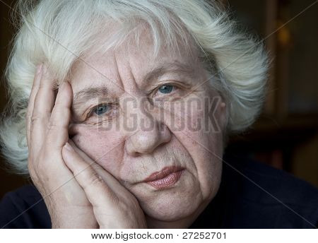 Old gray-haired woman. Series