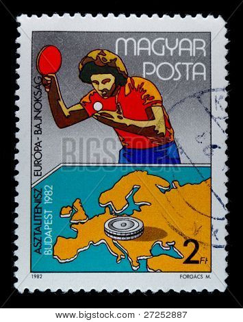 HUNGARY - CIRCA 1982: A stamp printed in Hungary showing table tennis with map on it, circa 1982