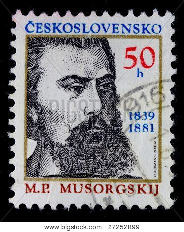 CZECHOSLOVAKIA - CIRCA 1981: A stamp printed in Czechoslovakia shows Modest Mussorgsky, circa 1981